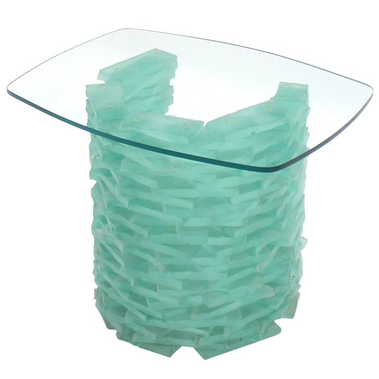 "Stacked Glass ""Ice Block"" Base Side Table"