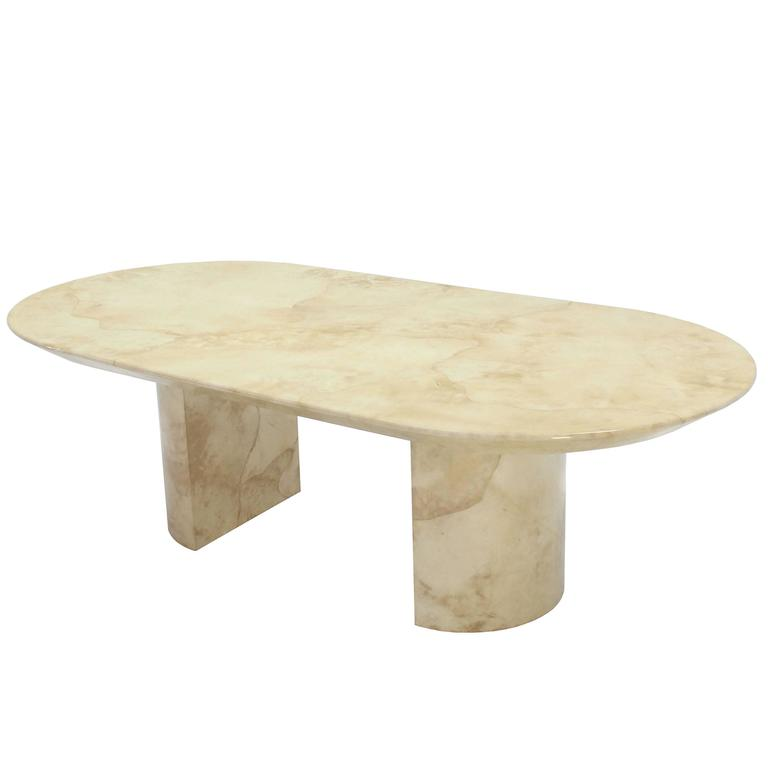 Goatskin Parchment Two Pedestal Oval Dining Table For Sale At 1stdibs