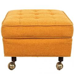 Mid-Century Upholstered Ottoman on Casters by Harvey Probber