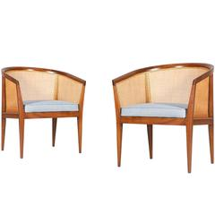 Kipp Stewart Caned Club Chairs for Directional