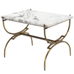 Solid Brass Marble Top Arch Shape Legs Side Table