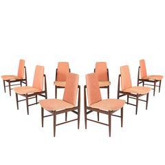Set of Eight Italian Walnut Dining Chairs