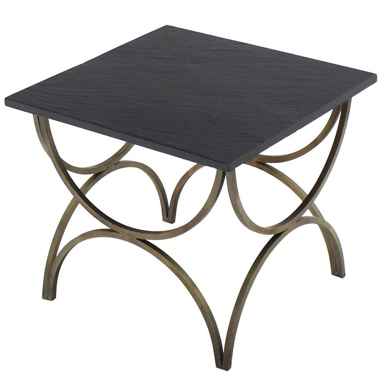 Decorative Slate Top Square Occasional Side Table For