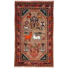 Vintage Persian Tabriz Pictorial Rug