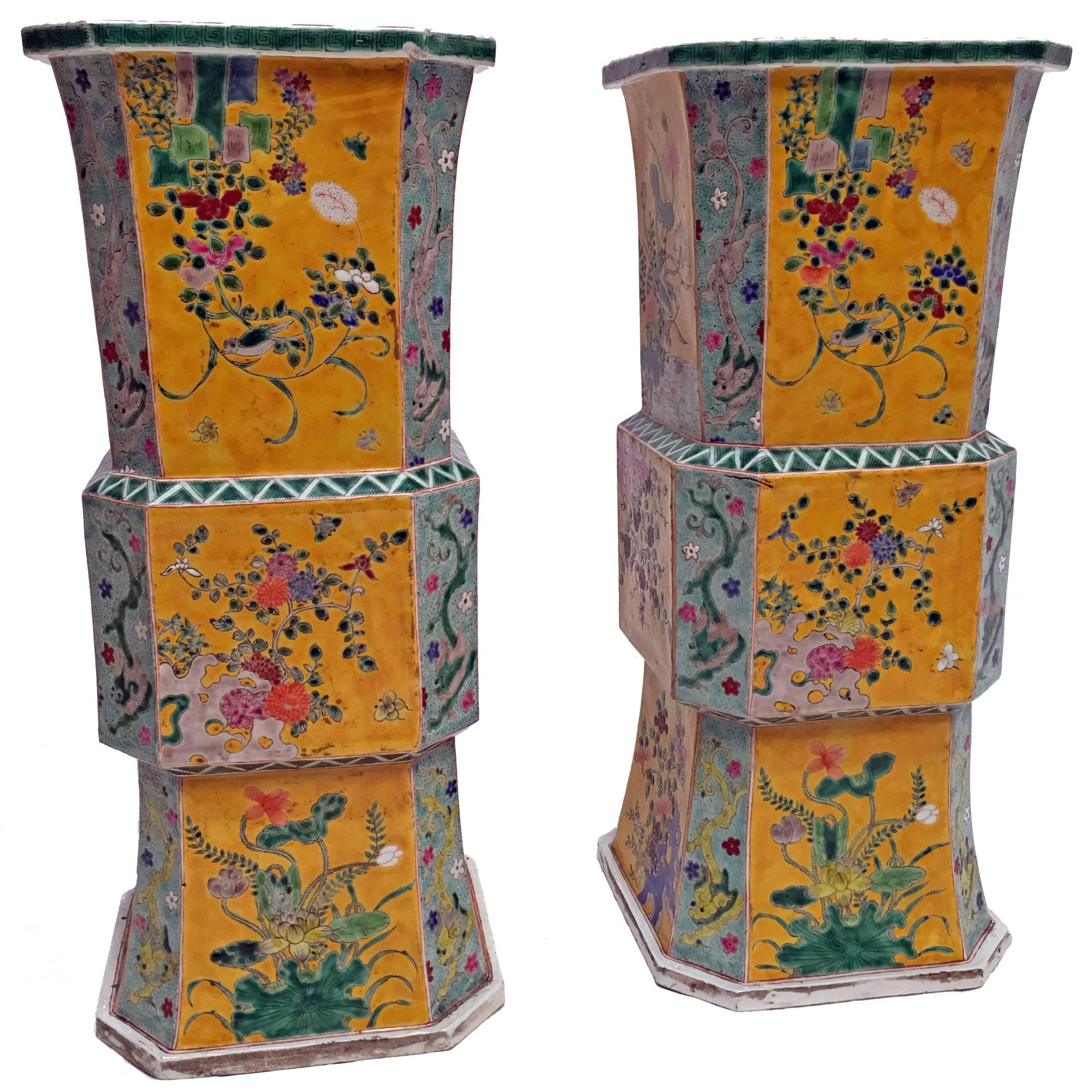 Large Pair of 19th Century Japanese Meiji Vases