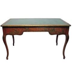 Louis XVI Style Chinoiserie Bureau Plat Desk