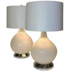 Pr Mid Century Modern Italian Vistosi White Murano Glass, Chrome & Lucite Lamps