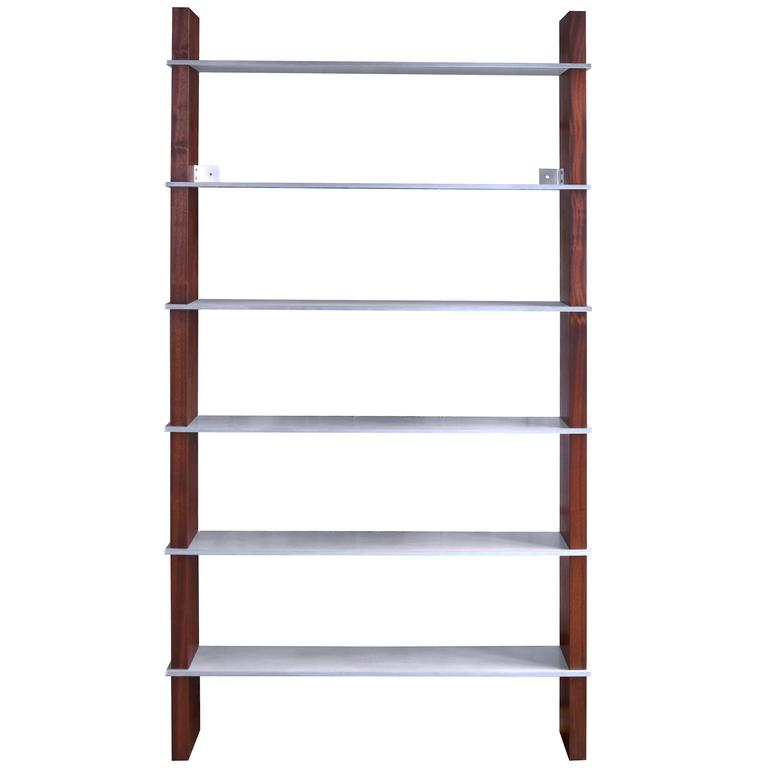 Oiled Walnut Biblios Bookcase with Solid Aluminum Shelves