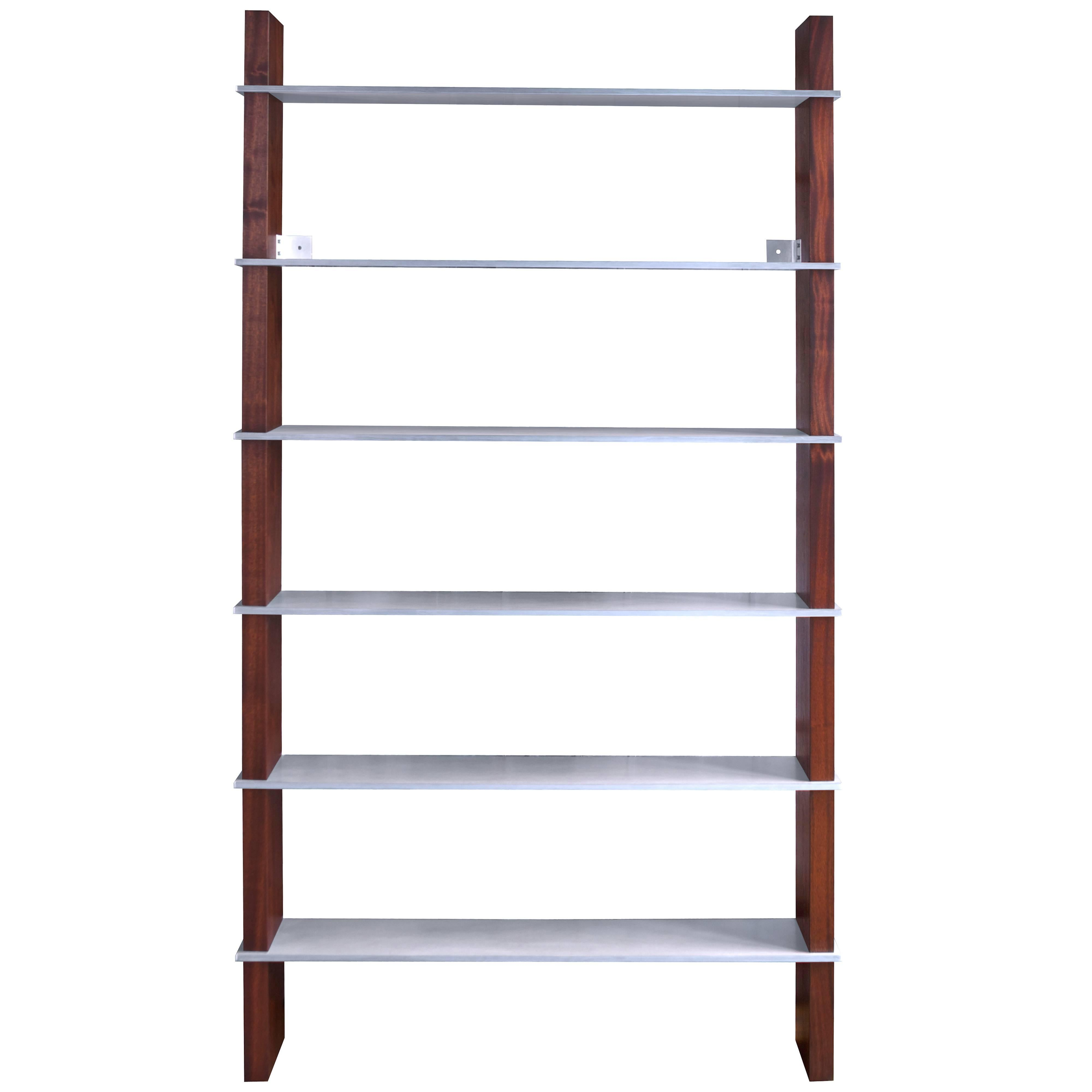 Biblios Bookcase in Walnut and Aluminum- handcrafted by Richard Wrightman Design