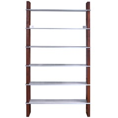 Biblios Bookcase in Oiled Walnut with Solid Aluminum Shelves