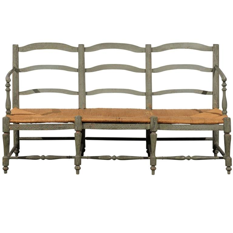 Late 18th to Early 19th Century French Painted Bench with Rush Seat