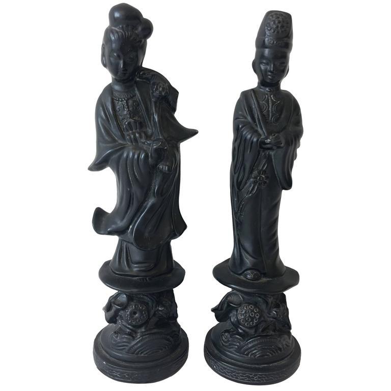 Black Plaster Asian Figurines by Alexander Backer, Pair
