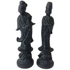Black Plaster Asian Figurines by Alexander Backer, Pair