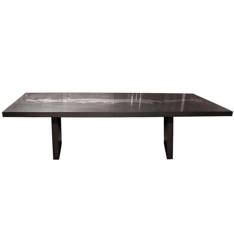 Hephaestus II Thrown Metal & Graphite Dining Table, Customizable Steel Legs