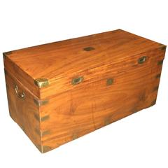 China Trade Camphor Wood Trunk or Campaign Chest, circa 1800