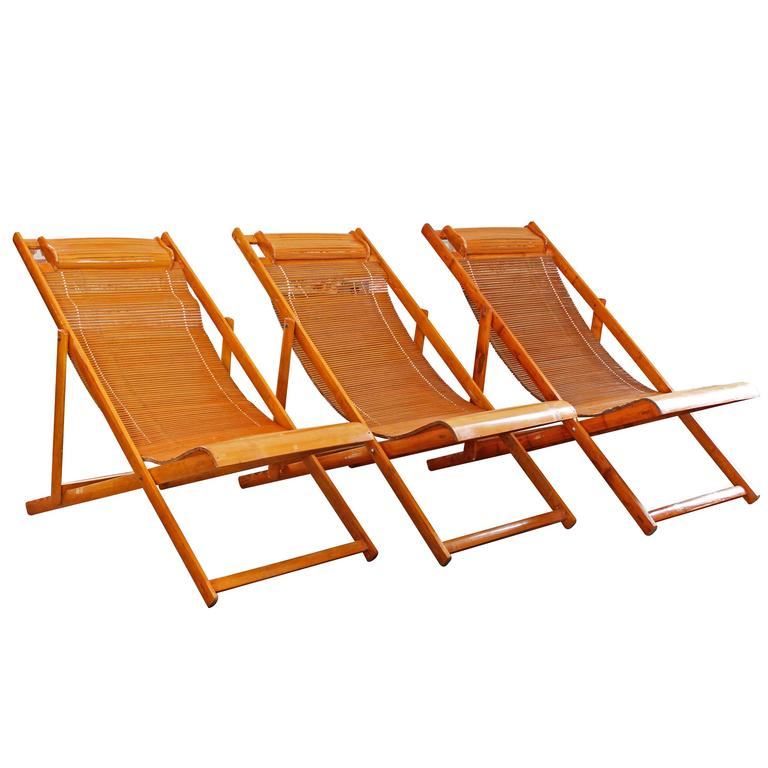 Vintage Bamboo Wood Japanese Deck Chairs, Loungers Outdoor Fold Up Lounge  Chairs 1