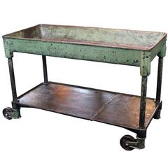 Vintage Industrial Metal Cast Iron Machine Rolling Bar Cart, Table, Sink
