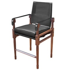 Walnut Chatwin Counter Chair with Black Leather Upholstery and Strapping