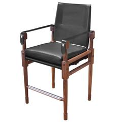 Walnut Chatwin Counter Chair and Bar Chair or Bar Stool with Leather Upholstery