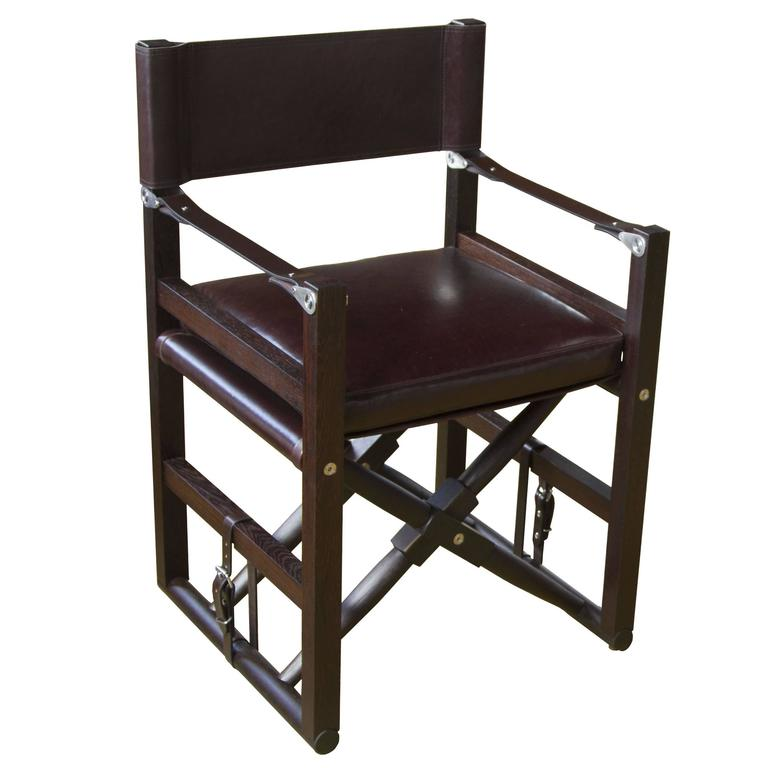 Cabourn Folding Chair in Oiled Wenge with Dark Chocolate Strapping
