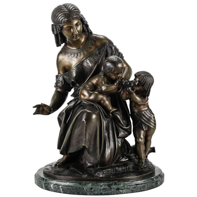 French Bronze Figural Group of Egyptian Woman by Francois Moreau