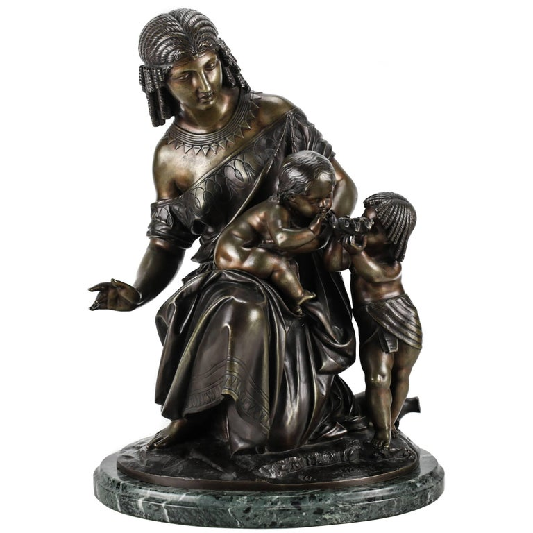 French Bronze Figural Group of Egyptian Woman by Francois Moreau For Sale