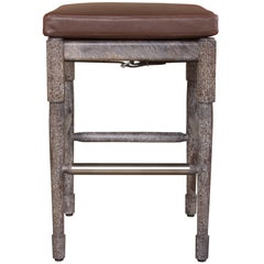 Chatwin Bar Stool in Marrakech Stained and Limed Walnut with Leather Upholstery