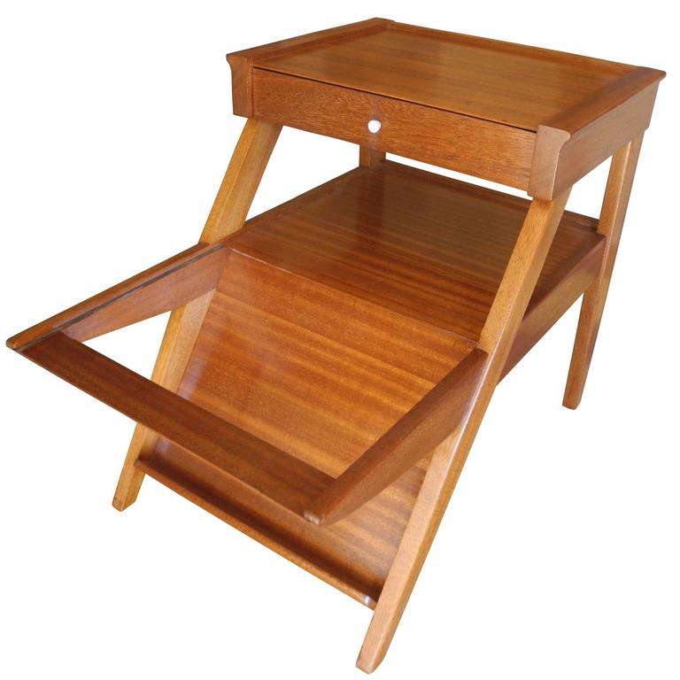 Magazine Side Table with Drawer in Mahogany by John Keal for Brown Saltman, CA