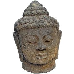 Large Carved Volcanic Stone Buddha Head Sculpture