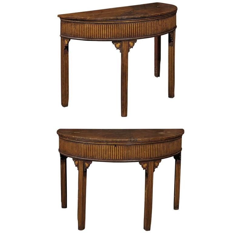 Pair of English Neoclassical Style 1880s Painted Demi-Lune Tables with Lift Tops For Sale