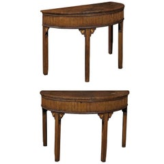 Pair of English Neoclassical Style 1880s Painted Demi-Lune Tables with Lift Tops