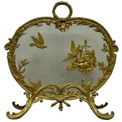 Antique French Rococo Louis XV Style Cast Bronze Birds Fireplace Fire Screen