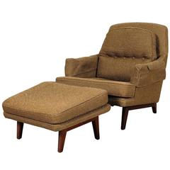 Mid Century Lounge Chair and Ottoman By Roger Sprunger For Dunbar