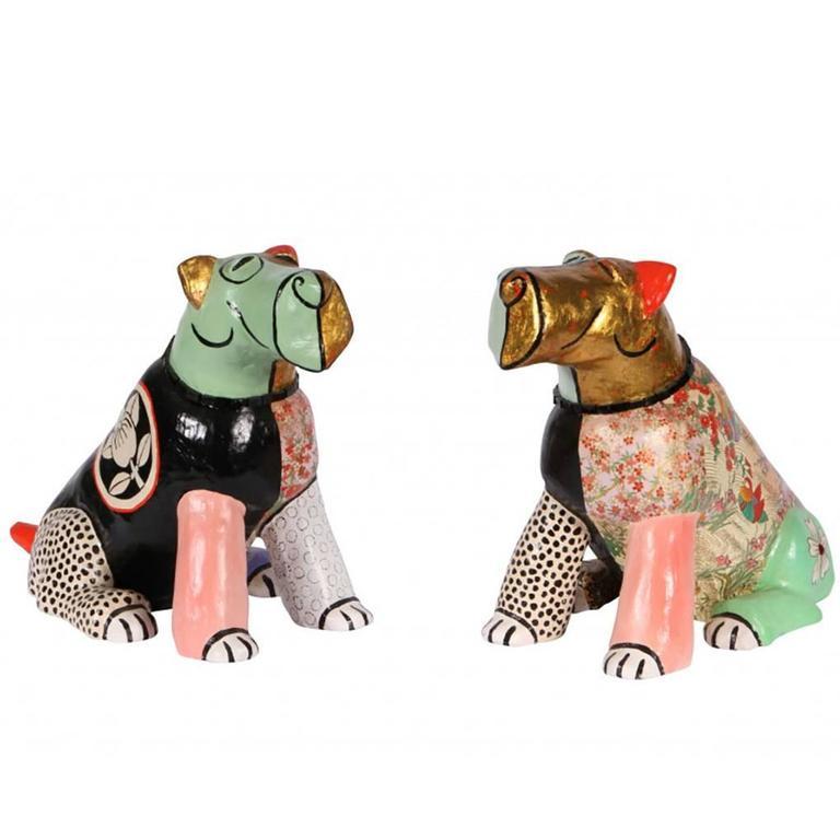 Pair of Bernhard Stylized Ceramic Dog Sculptures