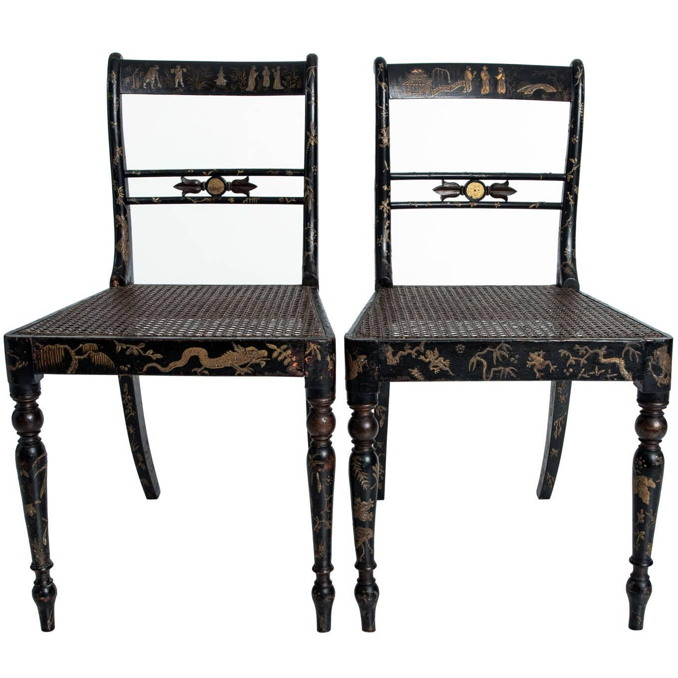 Regency style chinoiserie side chairs for sale at stdibs