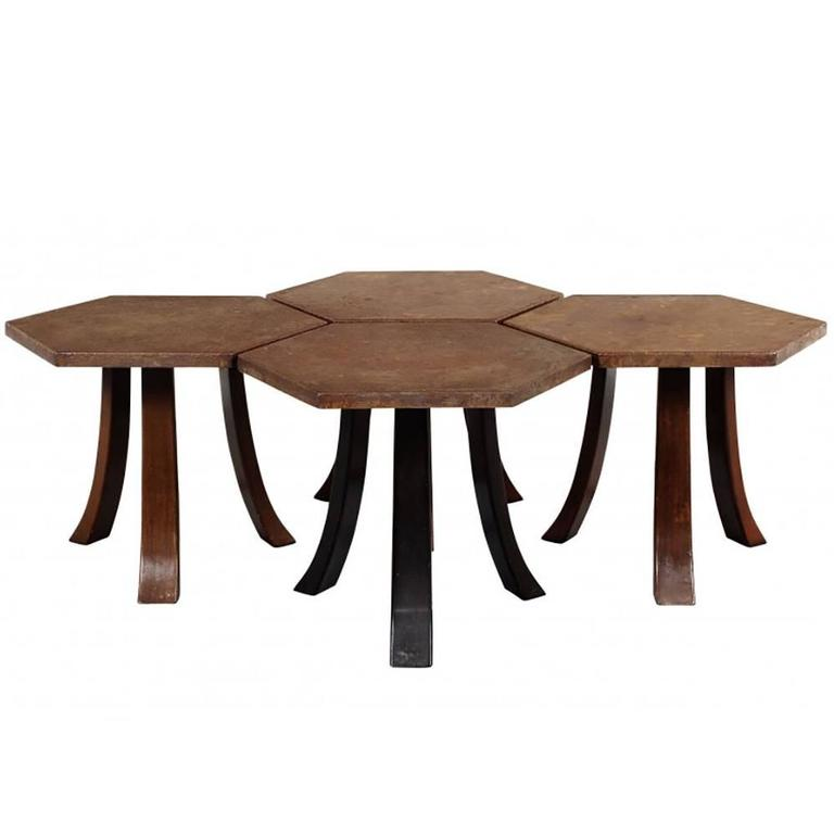 Suite of Four Hexagonal Tables by Harvey Probber For Sale