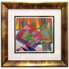 Gouache on Paper Geometric Abstract by Rolph Scarlett