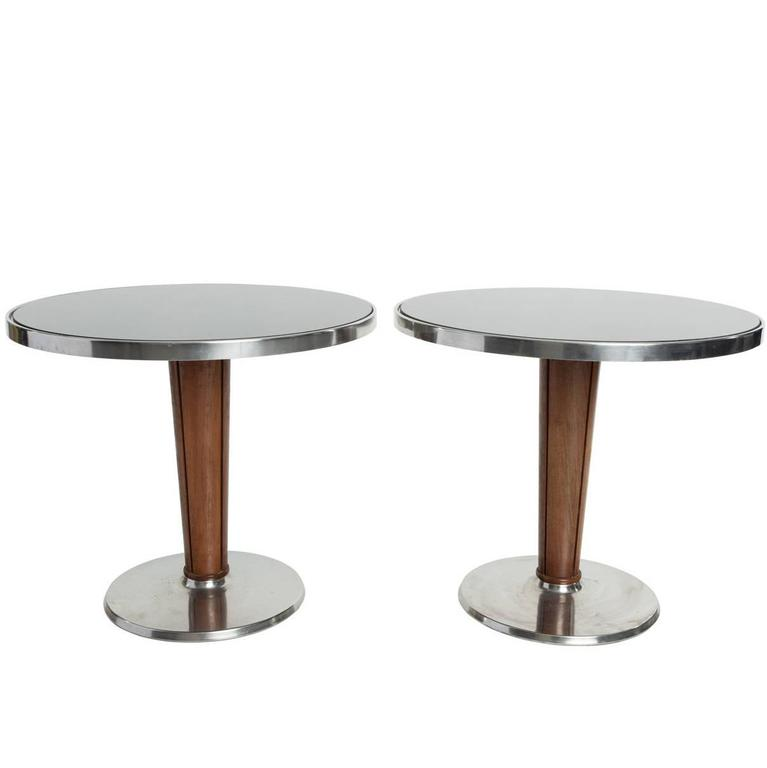 Stainless Steel and Wood Re-Purposed Cruise Ship Side Tables