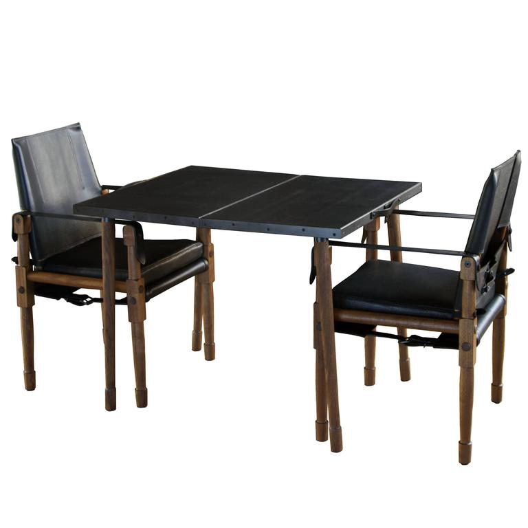 Collingswood Folding Table with Walnut Legs and Clad in Leather