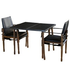 Leather Clad Collingwood Folding Table with Walnut Legs and Bronze Hardware