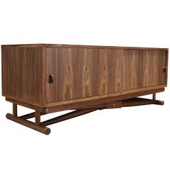 Ingram Console with Sliding Doors in Oiled Walnut