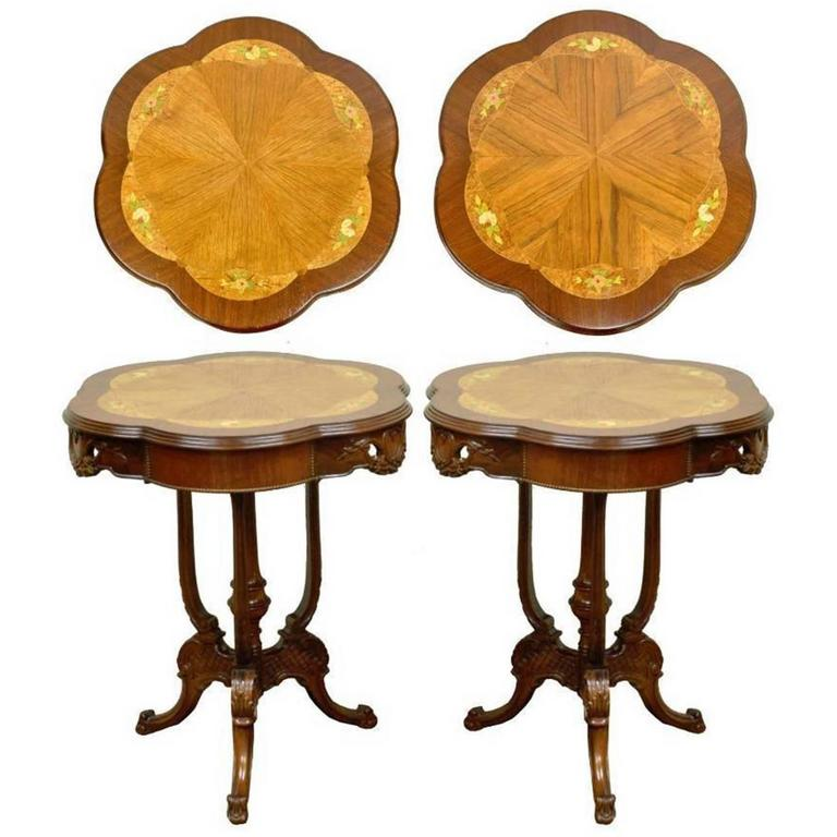 Pair Of Antique French Louis XV Style Floral Satinwood Inlaid Walnut End  Tables For Sale