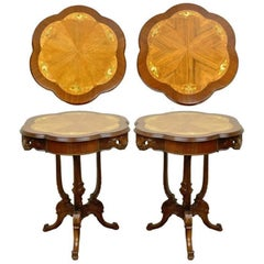 Pair Antique French Louis XV Style Floral Satinwood Inlay Walnut Lamp End Tables