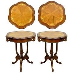 Pair of Antique French Louis XV Style Floral Satinwood Inlaid Walnut End Tables