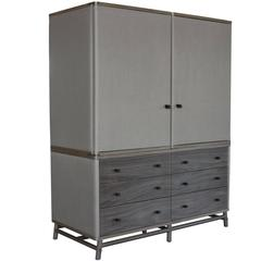Lambert Armoire in Grey Walnut with Ash Canvas and Granite Leather Straps
