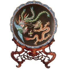 Cloisonné Enamel 'Dragon and Phoenix' Charger on Ornate Wooden Stand