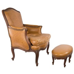 Louis XV Style Italian Walnut Bergere and Tabouret