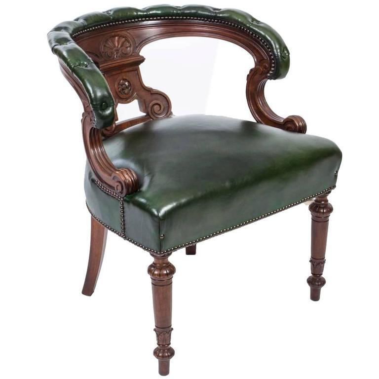 Antique Victorian Walnut Desk Chair Tub Chair, circa 1870 For Sale - Antique Victorian Walnut Desk Chair Tub Chair, Circa 1870 At 1stdibs