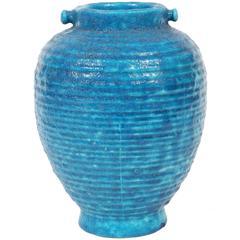 Egyptian Blue Faience Edmond Lachenal Vase, France, 1930s