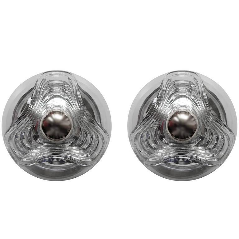 Pair of Glass Flush Mounts Wall Ceiling Lights by Peill & Putzler